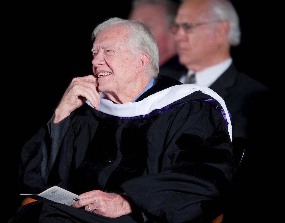 "Former U.S. President and Nobel Peace laureate Jimmy Carter and former First Lady Rosalynn Carter received the Mahatma Gandhi Center for Global Nonviolence's top honor, the second Mahatma Gandhi Global Nonviolence Award, September 21, 2009, the International Day of Peace.  . .The award was presented at the James Madison University Convocation Center in Harrisonburg, VA...Following the award presentation President Carter delivered his  Gandhi Award Lecture entitled ""The Path to Peace in the Middle East."""