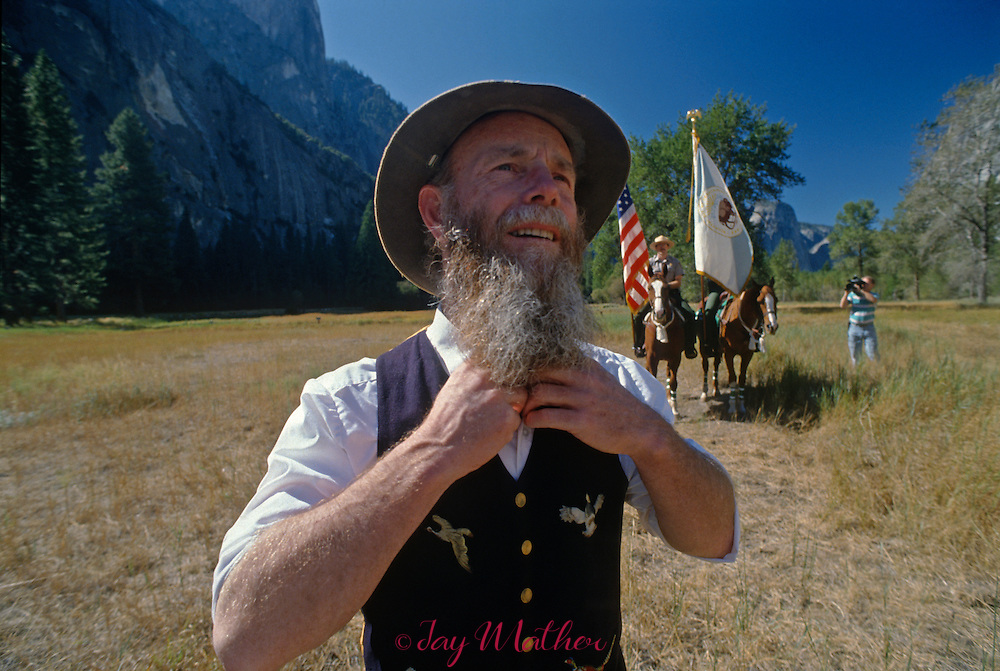 Yosemite National Park 100th anniversary event.  October 1, 1990..Lee Stetson who portrays John Muir prepares for his presentation at the event.
