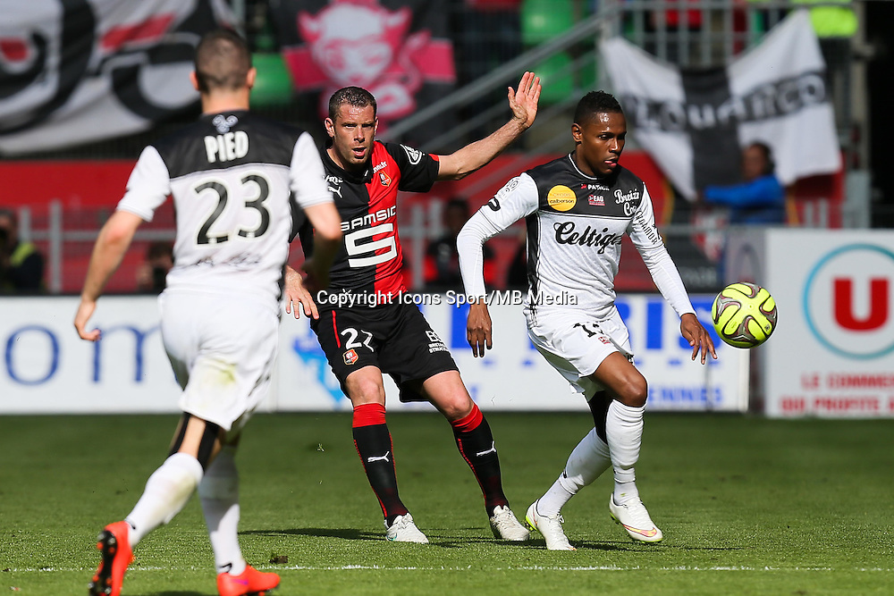 Christophe MANDANNE / Sylvain ARMAND - 12.04.2015 - Rennes / Guingamp - 32eme journee de Ligue 1 <br /> Photo : Vincent Michel / Icon Sport