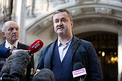 "© Licensed to London News Pictures. 10/10/2018. London, UK. Gareth Lee leaves The Supreme Court after losing his case. Today the Supreme Court ruled that Daniel and Amy McArthur, owners of Ashers Bakery in Belfast, did not discriminate against Mr Lee by refusing to decorate a cake with the slogan ""Support Gay Marriage"". The case has become known as the 'gay cake' case. Photo credit : Tom Nicholson/LNP"