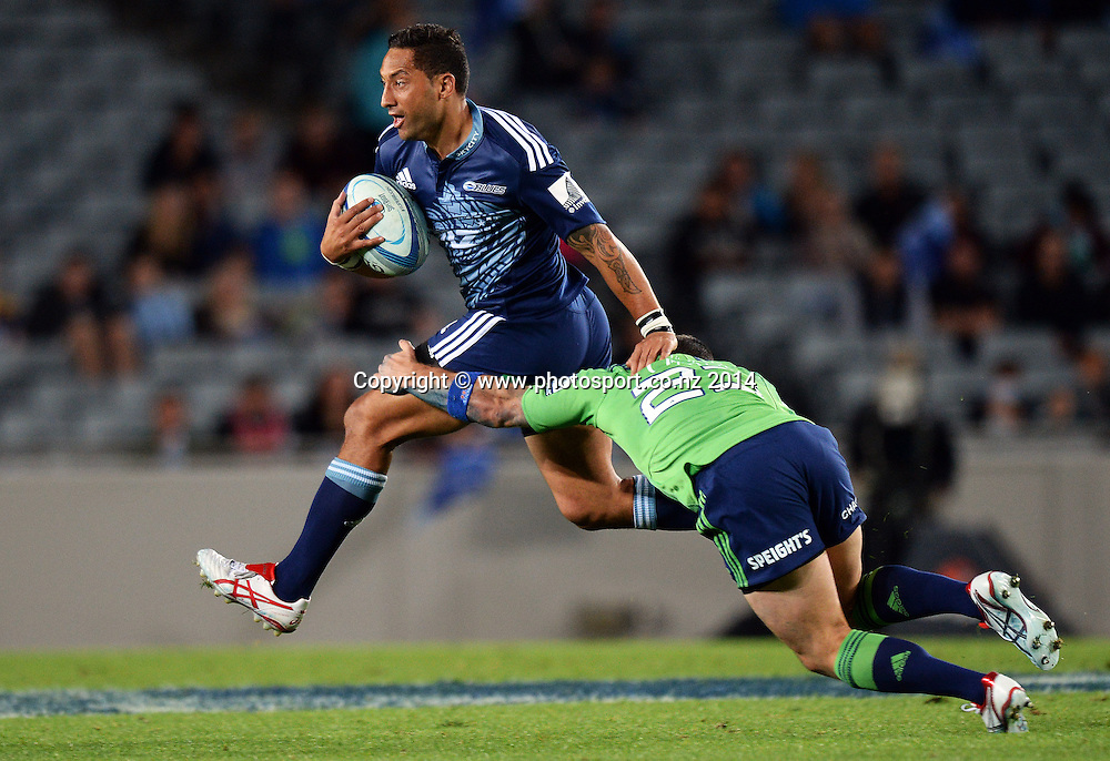 Benji Marshall. Blues v Highlanders. Investec Super Rugby Season. Eden Park, Auckland, New Zealand. Saturday 29 March 2014. Photo: Andrew Cornaga/Photosport.co.nz