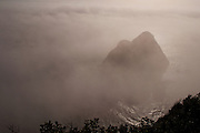 Ocean Mist, Rocky Promontory, Mendocino County, California Coast, offshore rock, rocky coast, sunlight through clouds, Pacific Ocean