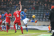 Calvin Andrew clears during the EFL Sky Bet League 1 match between Rochdale and Walsall at Spotland, Rochdale, England on 23 December 2017. Photo by Daniel Youngs.