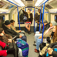 """London January 10th Members of the public on the London underground take part in """" No Pants on the subway"""" a worldwide event in which travellers are invitaed today January 10th to travel on the underground without trousers . ...Standard Licence feee's apply  to all image usage.Marco Secchi - Xianpix tel +44 (0) 7717 298571.http://www.marcosecchi.com"""