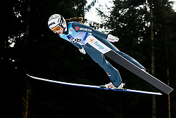 Juliane Seyfarth of Germany soaring through the air during Trial Round at Day 1 of World Cup Ski Jumping Ladies Ljubno 2019, on February 8, 2019 in Ljubno ob Savinji, Slovenia. Photo by Matic Ritonja / Sportida