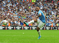 Football - 2019 FA Community Shield - Liverpool vs. Manchester City<br /> <br /> Jesus of Man City scores the winning goal in the penalty Shoot out, at Wembley Stadium.<br /> <br /> COLORSPORT/ANDREW COWIE