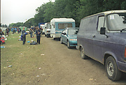Vehicles queuing to exit Glastonbury Festival,1994.