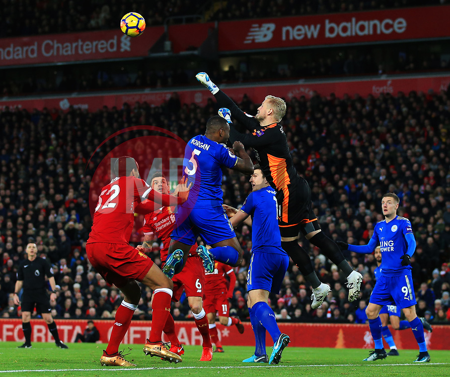 Kasper Schmeichel of Leicester City punches the ball clear - Mandatory by-line: Matt McNulty/JMP - 30/12/2017 - FOOTBALL - Anfield - Liverpool, England - Liverpool v Leicester City - Premier League