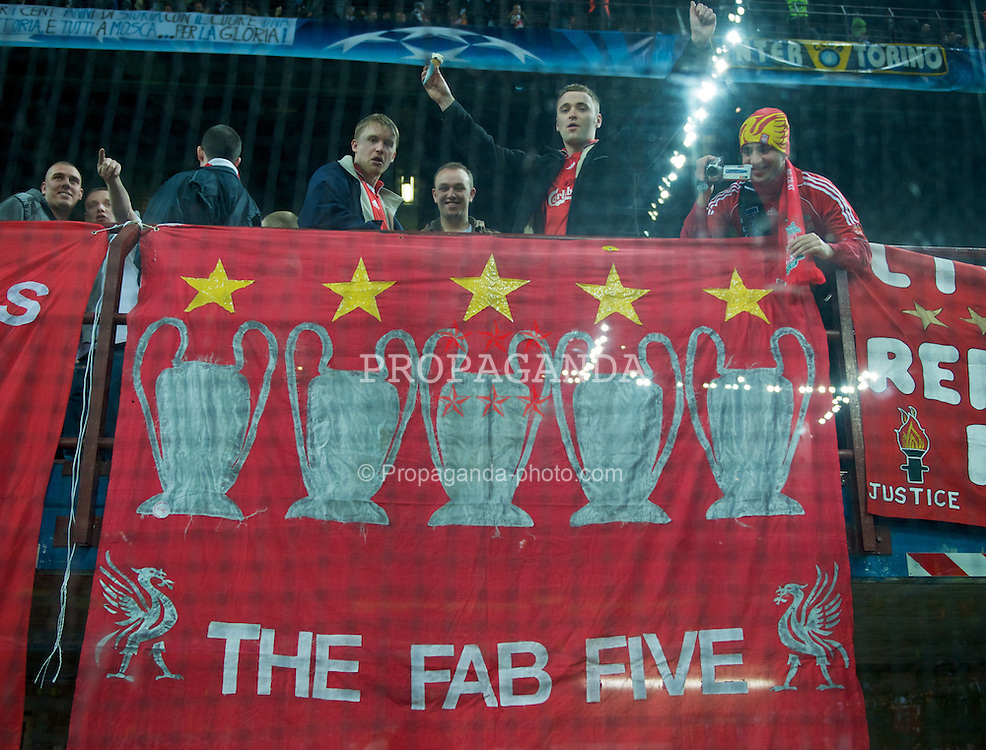 MILAN, ITALY - Tuesday, March 10, 2008: Liverpool fans with a banner showing their five European Cups during the UEFA Champions League First knockout Round 2nd Leg match at the San Siro. (Pic by David Rawcliffe/Propaganda)