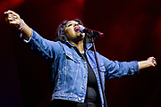 Jazmine Sullivan performs during the Summer Spirit Festival at Merriweather Post Pavilion in Columbia, Md on Sunday, August 6, 2017.