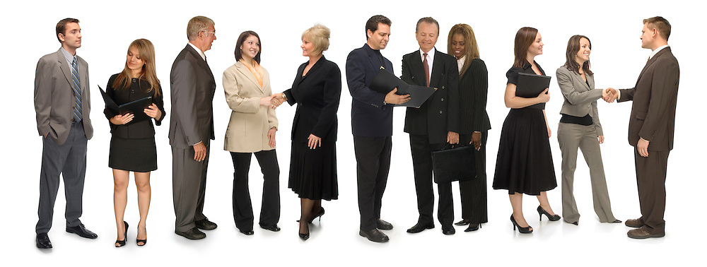 Group of corporate business people networking on a white background
