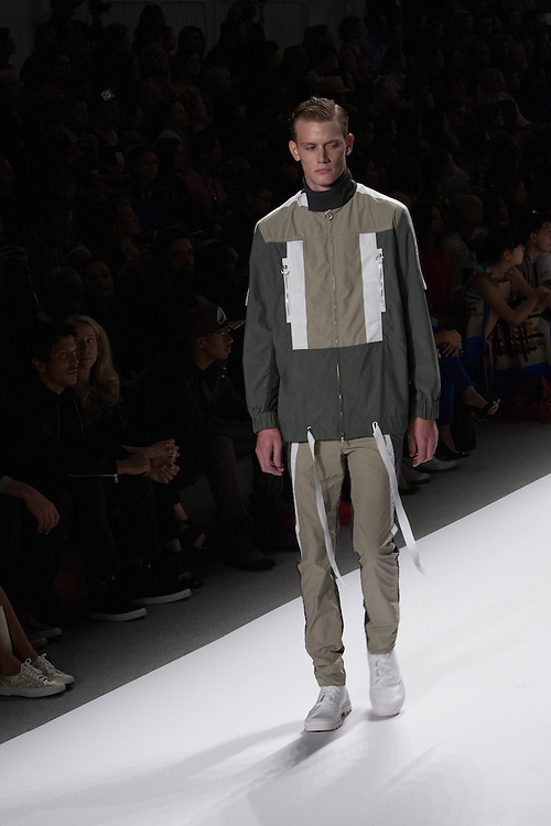A men's outfit with sage green trousers and pattered jacket by Richard Chai at the Spring 2013 Mercedes Benz Fashion Week show in New York.