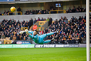 Jordan Smith of Nottingham Forest watches as he is beaten by a shot during the EFL Sky Bet Championship match between Wolverhampton Wanderers and Nottingham Forest at Molineux, Wolverhampton, England on 20 January 2018. Photo by Darren Musgrove.