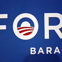 The banner and Logo is seen as President Barack Obama speaks during his Grassroots event at the Kissimmee Civic Center in Kissimmee, Florida on Saturday, September 8, 2012. (AP Photo/Alex Menendez)