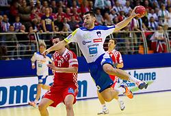 Dragan Gajic of Slovenia during handball match between Slovenia and Croatia in  2nd Round of Preliminary Round of 10th EHF European Handball Championship Serbia 2012, on January 18, 2012 in Millennium Center, Vrsac, Serbia. Croatia defeated Slovenia 31-29. (Photo By Vid Ponikvar / Sportida.com)
