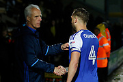 Ipswich Town manager Mick McCarthy celebrates post match with goalscorer Ipswich Town defender Luke Chambers (4) (captain) during the EFL Sky Bet Championship match between Burton Albion and Ipswich Town at the Pirelli Stadium, Burton upon Trent, England on 14 April 2017. Photo by Richard Holmes.