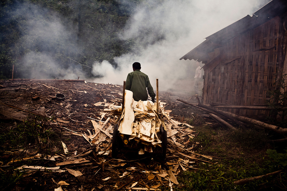 A worker brings scrap wood to burn at a wood and paper factory along the Red River near Yen Bai Province in northern Vietnam.