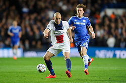 PSG Defender Alex (BRA) is challenged by Chelsea Defender David Luiz (BRA) - Photo mandatory by-line: Rogan Thomson/JMP - 07966 386802 - 08/04/2014 - SPORT - FOOTBALL - Stamford Bridge, London - Chelsea v Paris Saint-Germain - UEFA Champions League Quarter-Final Second Leg.