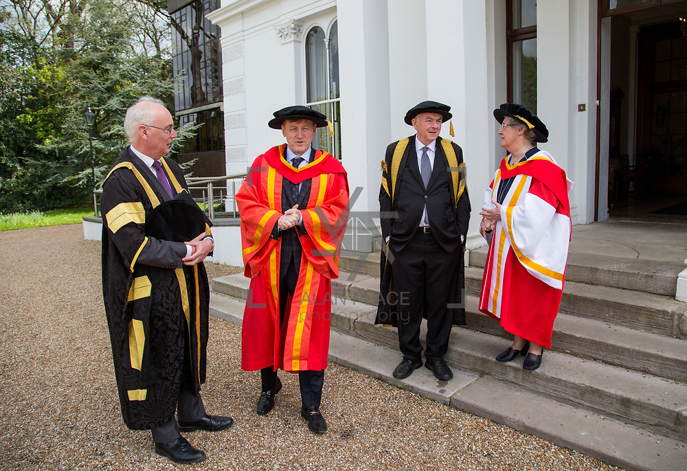 26.04.2017.          <br /> The University of Limerick today conferred Honorary Doctorates on two exceptional individuals from the worlds of business and education, Sr. Angela Bugler and Vincent Roche.&nbsp; <br /> Pictured are Prof. Paul McCutcheon, Vice Presidentand Academic Registrar, Vincent  Roche, President and CEO of Analog Devices Worldwide, who was conferred with an honorary degree of Doctor of Engineering, Prof. Don Barry, President UL and Sr Angela Bugler, former President of Mary Immaculate College Limerick who was conferred with the honorary degree of Doctor of Letters. Picture: Alan Place.