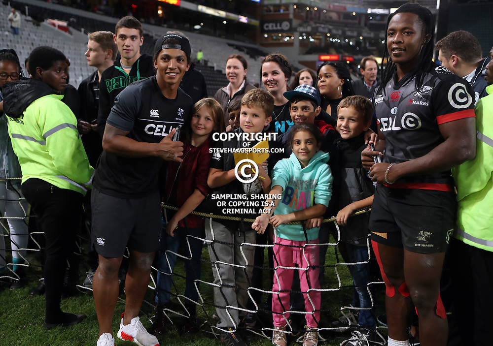DURBAN, SOUTH AFRICA - MAY 27: Garth April with Sbu Nkosi of the Cell C Sharks and the fans during the Super Rugby match between Cell C Sharks and DHL Stormers at Growthpoint Kings Park on May 27, 2017 in Durban, South Africa. (Photo by Steve Haag/Gallo Images)