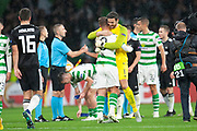 Craig Gordon (#1) of Celtic FC congratulates Leigh Griffiths (#9) of Celtic FC after Griffiths scores the only goal during the UEFA Europa League group stage match between Celtic FC and Rosenborg BK at Celtic Park, Glasgow, Scotland on 20 September 2018.