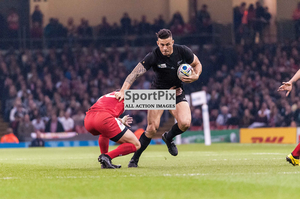 All Black Sonny Bill Williams. Action from the Wales & Fiji game in Pool A of the 2015 Rugby World Cup at Milennium Stadium in Cardiff, 2 October 2015. (c) Paul J Roberts / Sportpix.org.uk