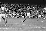Cork player kicks the slitor after dropping his hurl during the All Ireland Senior Hurling Final, Cork v Wexford in Croke Park on the 5th September 1976. Cork 2-21, Wexford 4-11.