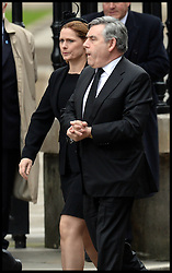 Gordon and Sarah Brown attend Lady Thatcher's funeral at St Paul's Cathedral following her death last week, London, UK, Wednesday 17 April, 2013, Photo by: Andrew Parsons / i-Images