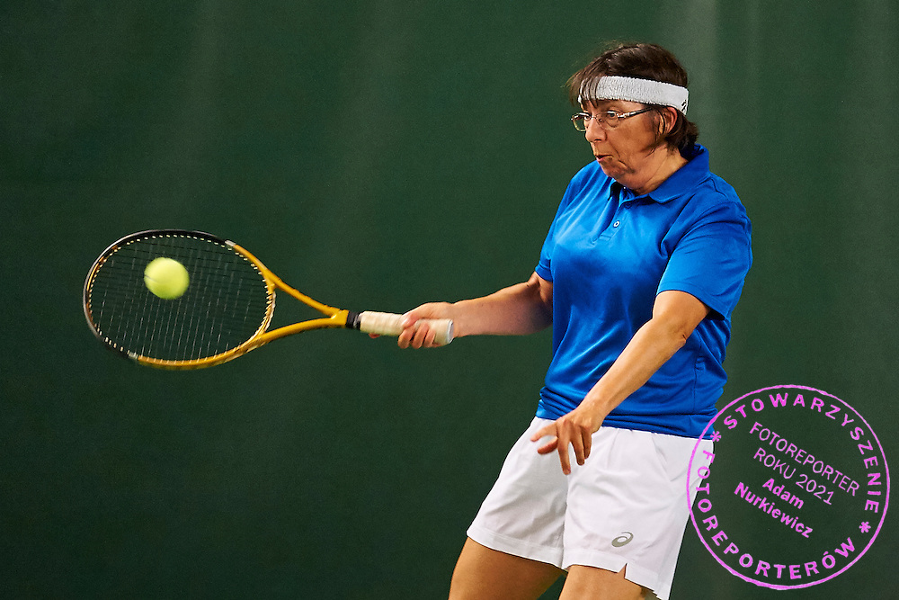 Helsinki, Finland - 2016 June 23: Chantal Perrissin from France in action while double match France between USA during 2016 ITF Seniors World Team Championships at Esport Center on June 23, 2016 in Helsinki, Finland.<br /> <br /> Adam Nurkiewicz declares that he has no rights to the image of people at the photographs of his authorship.<br /> <br /> Picture also available in RAW (NEF) or TIFF format on special request.<br /> <br /> Any editorial, commercial or promotional use requires written permission from the author of image.<br /> <br /> Mandatory credit:<br /> Photo by &copy; Adam Nurkiewicz