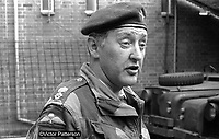 Lt Col Geoffrey Howlett, later Sir Geoffrey Howlett, commanding officer, 2 Bn Parachute Regiment, British Army, photographed whilst serving in N Ireland. 197107000262a.<br /> <br /> Copyright Image from Victor Patterson, 54 Dorchester Park, Belfast, UK, BT9 6RJ<br /> <br /> t: +44 28 9066 1296 (from Rep of Ireland 048 9066 1296)<br /> m: +44 7802 353836<br /> <br /> victorpattersonbelfast@gmail.com<br /> www.images4media.com<br /> <br /> Please see my Terms and Conditions of Use at https://www.victorpatterson.com/page2<br /> It is IMPORTANT that you familiarise yourself with them.<br /> <br /> Images used on the Internet incur an additional cost and must be visibly watermarked i.e. ©Victor Patterson within the body of the image and copyright metadata must not be deleted. Images used on the Internet have a size restriction of 4kbs and are chargeable at rates available at victorpatterson.com.<br /> <br /> This image is only available for the use of the download recipient i.e. television station, newspaper, magazine, book publisher, etc, and must not be passed on to any third party. It is also downloaded on condition that each and every usage is notified within 7 days to victorpatterson@me.com<br /> <br /> The right of Victor Patterson to be identified as the author is asserted in accordance with The Copyright Designs And Patents Act (1988). All moral rights are asserted.