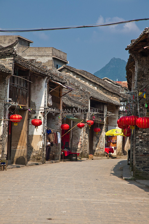 Ancient streets of Xingping are lined with historic Qing and Ming dynasty buildings.