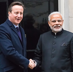 Downing Street, London, November 12th 2015. British Prime Minister David Cameron welcomes his Indian counterpart Narendra Modi to 10 Downing Street.