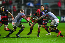 Dragons' Cory Hill is tackled by Southern Kings' Jurie van Vuuren - Mandatory by-line: Craig Thomas/JMP - 30/09/2017 - RUGBY - Rodney Parade - Newport, Gwent, Wales - Newport Gwent Dragons v Southern Kings - Guinness Pro 14