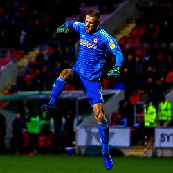 Daniel Bentley of Brentford celebrates his sides third goal against Rotherham United - Mandatory by-line: Ryan Crockett/JMP - 19/01/2019 - FOOTBALL - Aesseal New York Stadium - Rotherham, England - Rotherham United v Brentford - Sky Bet Championship