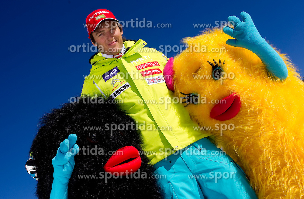 Rok Perko with mascots Xobi during media day of Slovenian Alpine Ski team on October 17, 2011, in Rudno polje, Pokljuka, Slovenia. (Photo by Vid Ponikvar / Sportida)