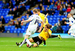 Bristol Rovers' Stuart Sinclair challenges Tranmere Rovers's Marc Laird - Photo mandatory by-line: Neil Brookman/JMP - Mobile: 07966 386802 - 08/11/2014 - SPORT - Football - Birkenhead - Prenton Park - Tranmere Rovers v Bristol Rovers - FA Cup - Round One
