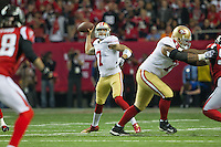 20 January 2013: Quarterback (7) Colin Kaepernick of the San Francisco 49ers passes the ball against the Atlanta Falcons during the first half of the 49ers 28-24 victory over the Falcons in the NFC Championship Game at the Georgia Dome in Atlanta, GA.