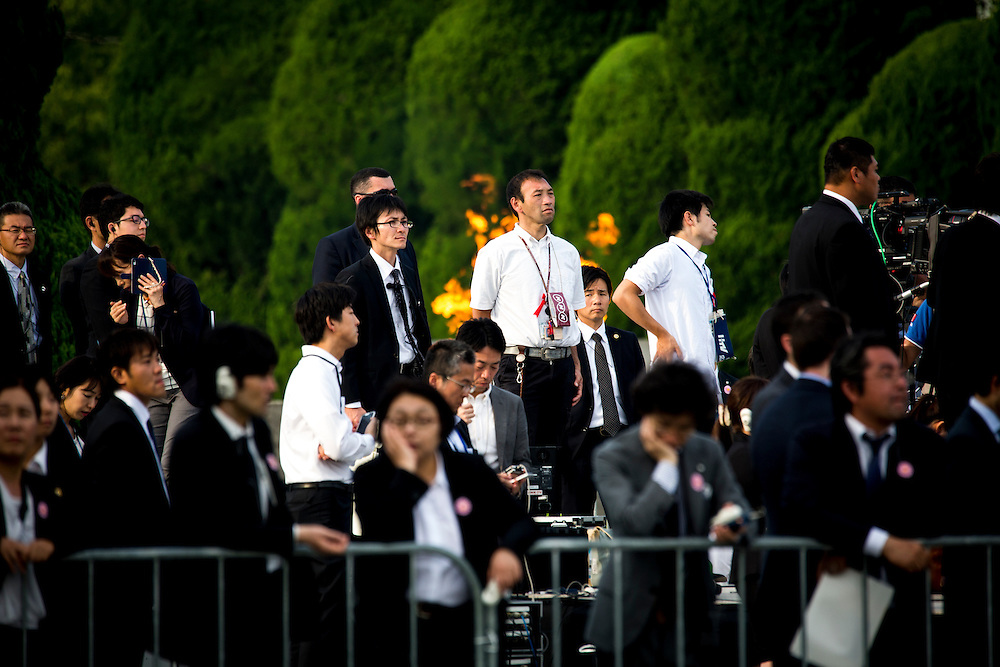 HIROSHIMA, JAPAN - MAY 27 : Total of 610 Members of press local and internationa waiting for U.S President Barack Obama and Prime Minister Shinzo Abe visit during the historic visit of U.S President in Hiroshima Peace Memorial Park in Hiroshima, Japan on May 27, 2016. US President Barack Obama is the first American president to visit Hiroshima after United States of America dropped Atomic bomb in Hiroshima on August 6, 1945.<br /> <br /> Photo: Richard Atrero de Guzman<br /> <br />  <br /> <br /> <br /> <br /> <br /> <br /> Photo: Richard Atrero de Guzman