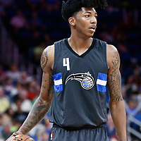 25 February 2017: Orlando Magic guard Elfrid Payton (4) brings the ball up court during the Orlando Magic 105-86 victory over the Atlanta Hawks, at the Amway Center, Orlando, Florida, USA.
