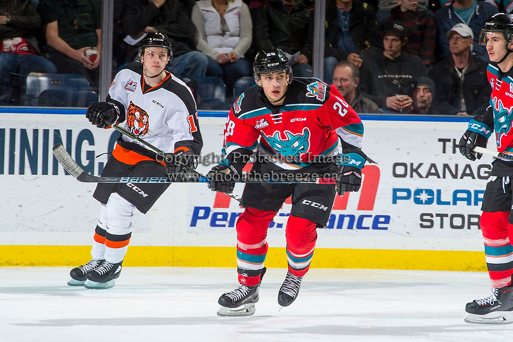 KELOWNA, CANADA - NOVEMBER 25: Leif Mattson #28 of the Kelowna Rockets skates against the Medicine Hat Tigers on November 25, 2017 at Prospera Place in Kelowna, British Columbia, Canada.  (Photo by Marissa Baecker/Shoot the Breeze)  *** Local Caption ***