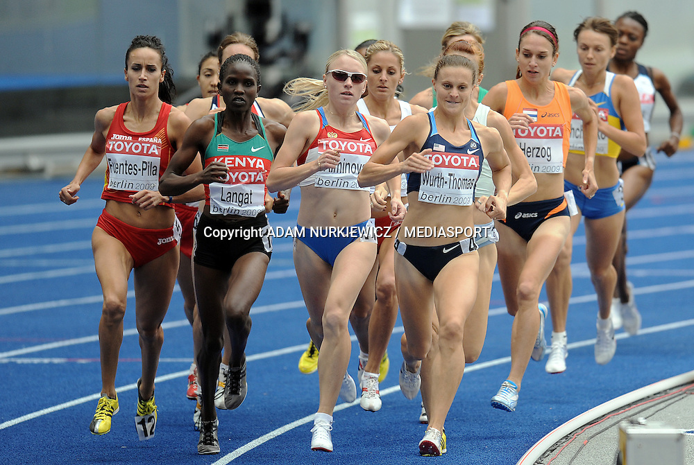 (L-R) IRIS FUENTES PILA (SPAIN) & NANCY JABET LANGAT (KENIA) & ANNA ALMINOVA (RUSSIA) & CHRISTIN WURTH THOMAS (USA) COMPETES IN 1500 METERS WOMEN QUALIFICATION ON THE OLYMPIC STADION ( OLIMPIASTADION ) DURING 12TH IAAF WORLD CHAMPIONSHIPS IN ATHLETICS BERLIN 2009..BERLIN , GERMANY , AUGUST 18, 2009..( PHOTO BY ADAM NURKIEWICZ / MEDIASPORT )..PICTURE ALSO AVAIBLE IN RAW OR TIFF FORMAT ON SPECIAL REQUEST.