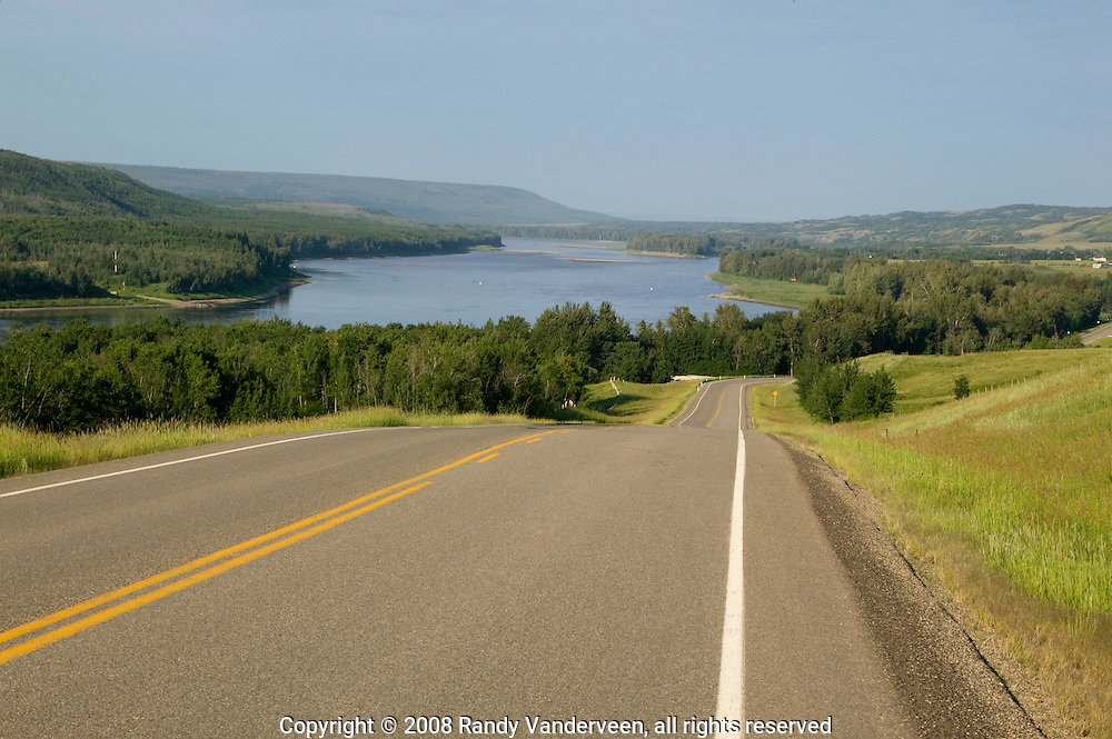 © 2008 Randy Vanderveen, all rights reserved.Grande Prairie, Alberta.The Peace River looking south just north of the Shaftesbury Ferry crossing near Tangent Park. The Peace River divides the region known as the Peace Country in northern Alberta and British Columbia into two.