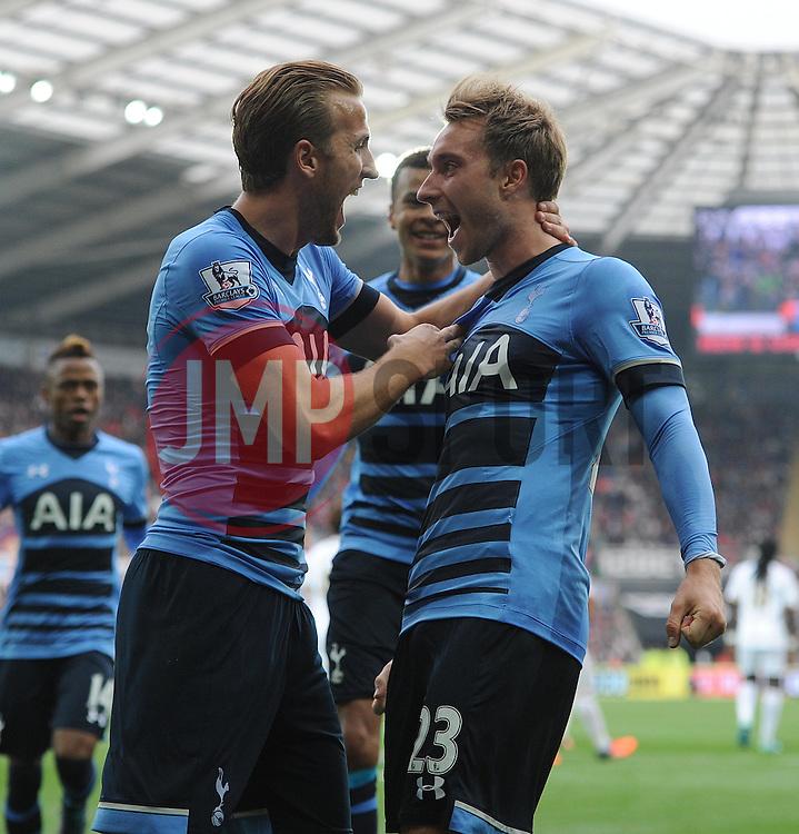 Christian Eriksen of Tottenham Hotspur celebrates with Harry Kane of Tottenham Hotspur.. - Mandatory byline: Alex James/JMP - 07966 386802 - 04/10/2015 - FOOTBALL - Liberty stadium - Swansea, England - Swansea City  v Tottenham hotspur - Barclays Premier League