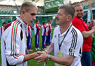 (R) Krzysztof Krukowski - Director Organizational Development Europe Eurasia Region Special Olympics while medal ceremony during the 2013 Special Olympics European Unified Football Tournament in Warsaw, Poland.<br /> <br /> Poland, Warsaw, June 08, 2012<br /> <br /> Picture also available in RAW (NEF) or TIFF format on special request.<br /> <br /> For editorial use only. Any commercial or promotional use requires permission.<br /> <br /> <br /> Mandatory credit:<br /> Photo by © Adam Nurkiewicz / Mediasport