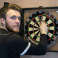 St Johnstone darts competition, the winner will play Phil ëThe Powerí TaylorÖ<br />Defending champion Zander Clark looking forward to beating his team mates at darts<br />Picture by Graeme Hart.<br />Copyright Perthshire Picture Agency<br />Tel: 01738 623350  Mobile: 07990 594431