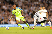 LONDON, ENGLAND - MAY 14:LONDON, ENGLAND - MAY 14:Andre Wisdom, of Derby County, attacks down the right wing and gets past Fulham's Ryan Sessegnon