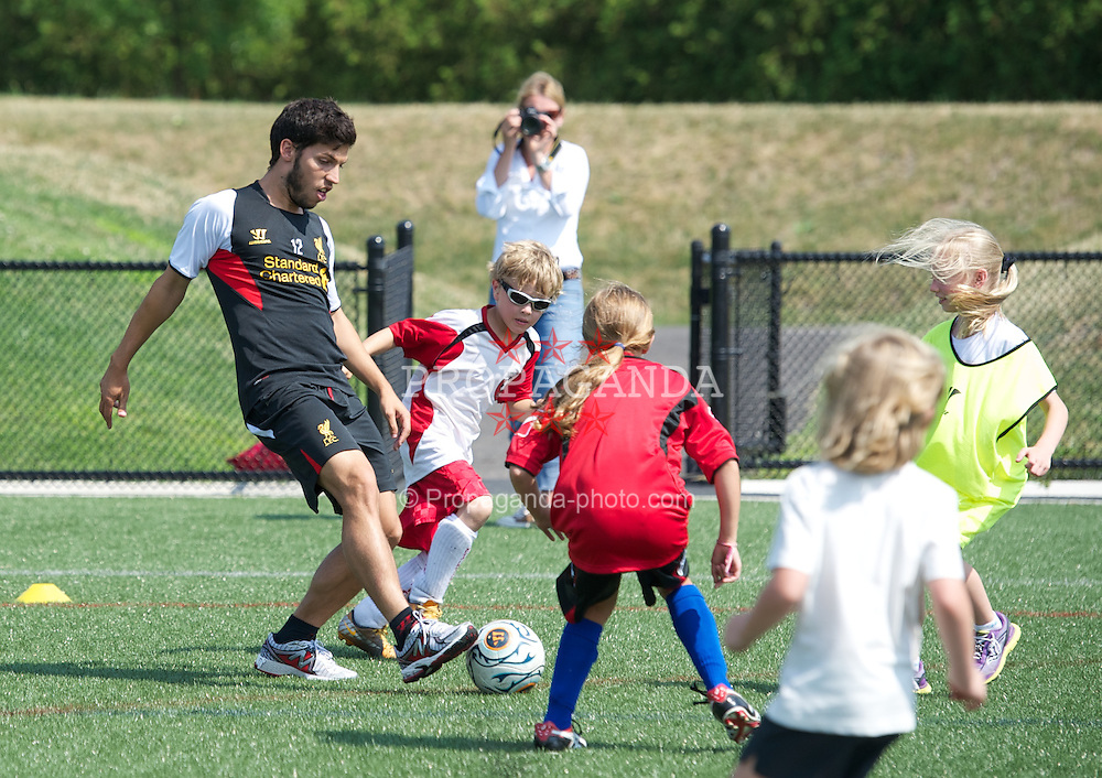 BOSTON, MA - Monday, July 23, 2012: Liverpool's Daniel Pacheco during a LFC Foundation event at Harvard Stadium fields during the club's North American pre-season tour. (Pic by David Rawcliffe/Propaganda)