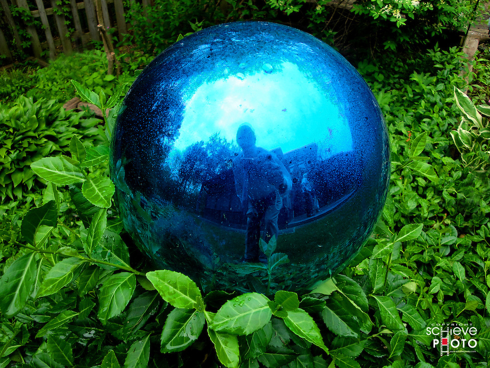 Blue mirror ball reflection.