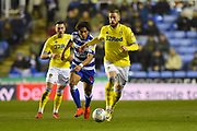 Pontus Jansson (18) of Leeds United on the attack during the EFL Sky Bet Championship match between Reading and Leeds United at the Madejski Stadium, Reading, England on 12 March 2019.