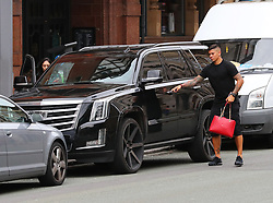 Marcos Roja returns to his car to receieve a £60 parking ticket after attending Ander Herrera's Birthday Lunch at Tapeo & Wine Restaurant in Manchester